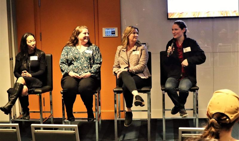 COURTESY: JIMBO GOWER/GOHAM FILMS - From left: Amy Winterowd, vice president of client solutions at JE Dunn; Jennifer Willard, who works in construction management at Intel; Dana Johnson, owner of Quantum Construction: and Ali LaManna, a project manager at Emerick Construction took part in a Jan. 24 CSI Portland panel discussion about how to increase the number of women in top leadership positions at contracting firms.
