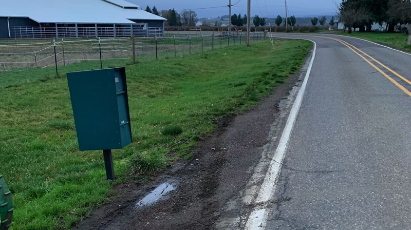 COURTESY PHOTO: WASHINGTON COUNTY SHERIFF'S OFFICE - The scene of a hit and run Saturday, Feb. 1, where a man was struck by a car while retrieving mail from his mailbox.