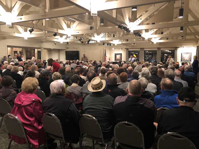 PMG PHOTO: COREY BUCHANAN - Hundreds of Charbonneau residents filed into Charbonneau Country Club for a special meeting Jan. 28.
