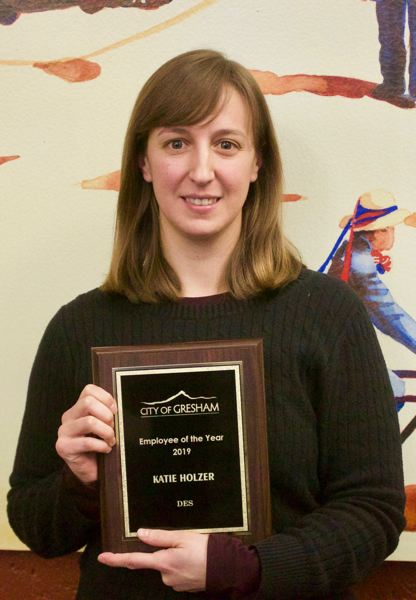 PMG PHOTO: CHRISTOPHER KEIZUR - Katie Holzer, an environmental specialist with the city of Gresham, was selected by her peers as the 2019 Employee of the Year for her willingness to go beyond what is expected of her.