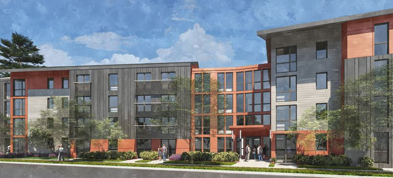 RENDERING COURTESY OF ANKROM MOISAN ARCHITECTS, INC.  - Nonprofit organization Albertina Kerr is planning to build 150 affordable housing units on its Gresham campus on Northeast 162nd Avenue, but needs the Gresham City Council to approve funding.