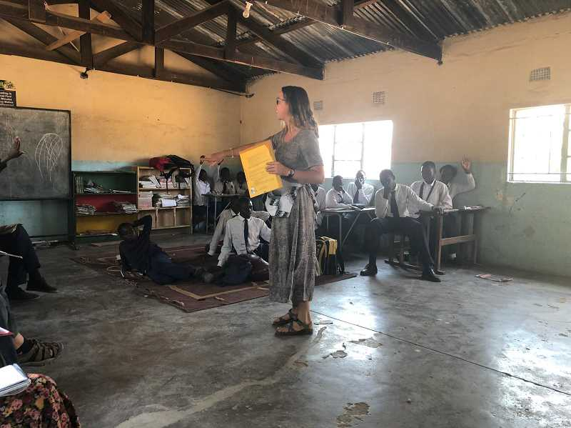 COURTESY PHOTO - Ryen Parno teaches middle school students in Zambia, Africa.