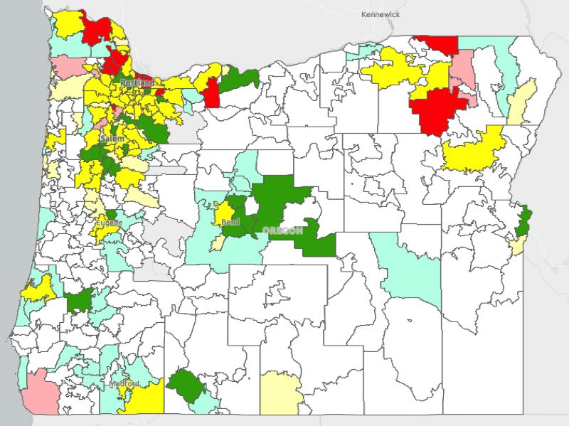 OREGON HEALTH AUTHORITY - A map from the Oregon Health Authority shows areas of increased radon risk.