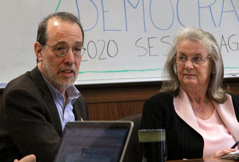OREGON CAPITAL BUREAU - Cap-and-trade architect Sen. Michael Dembrow, D-Portland, explains how he's attempted to craft his bill to overcome Republican opposition. State Sen. Laurie Monnes-Anderson listens to Dembrow's discussion.