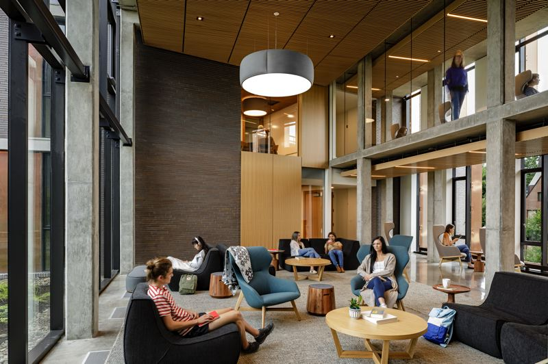 PHOTO:  LINCOLN BARBOUR - At Reed College's new freshman-only dorm, the Trillium Residence Hall, ZGF Architects designed it to encourage students to socialize in common areas.
