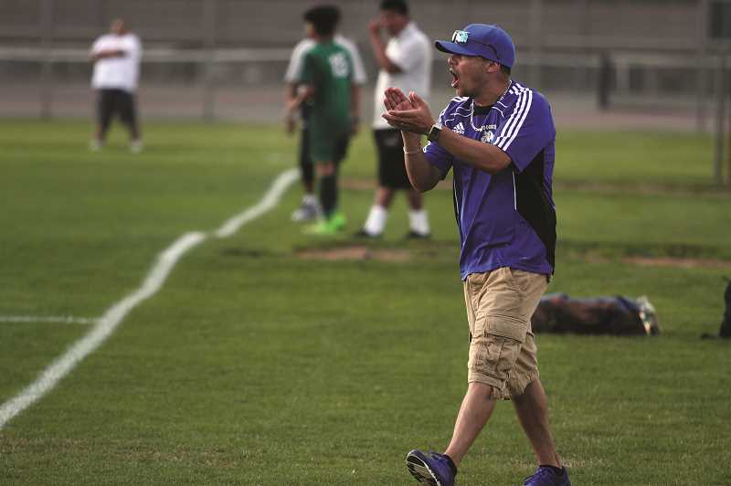 PMG PHOTO: PHIL HAWKINS - Woodburn High School boys soccer head coach Leroy Sanchez was named  2018-19 Northwest Section Boys Soccer Coach of the Year, encompassing coaches from Oregon, Washington, Alaska, Wyoming, Idaho and Montana.