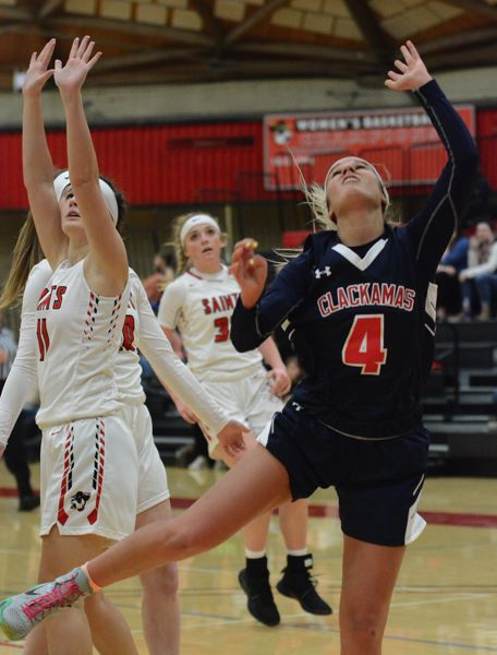 PMG PHOTO: DAVID BALL - Clackamas CCs Kylie Guelsdorf scored a game-high 17 points in the Cougars win over Linn-Benton on Saturday.