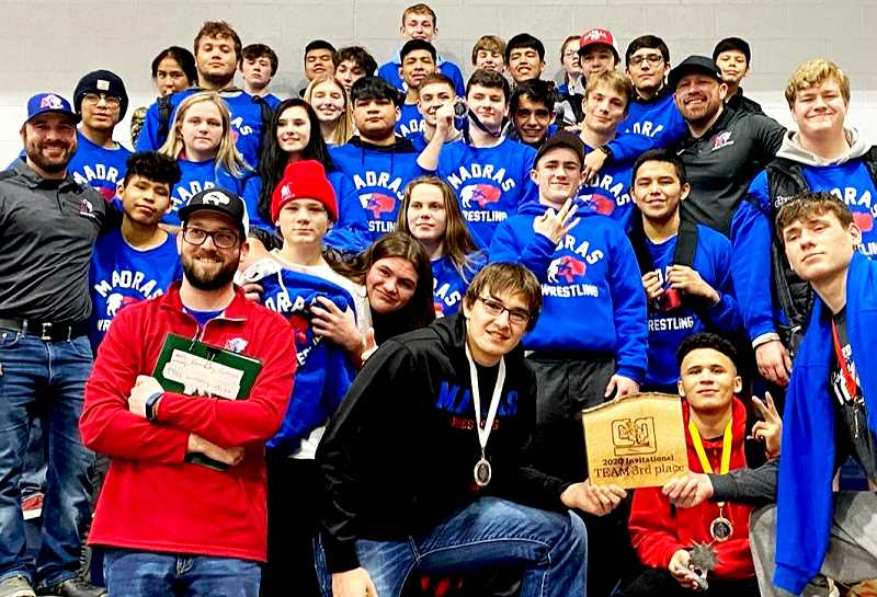 SUBMITTED PHOTO - The Madras White Buffalo wrestling team placed third at the Cottage Grove tournament Jan. 31-Feb. 1.