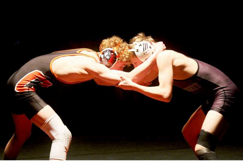 STEELE HAUGEN - Brody Piercy wrestles against his Crook County challenger Jan. 28.