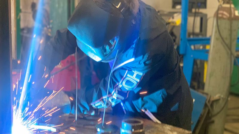 COURTESY PHOTO: ESTACADA SCHOOL DISTRICT - A welding student at Estacada High School works on a project.