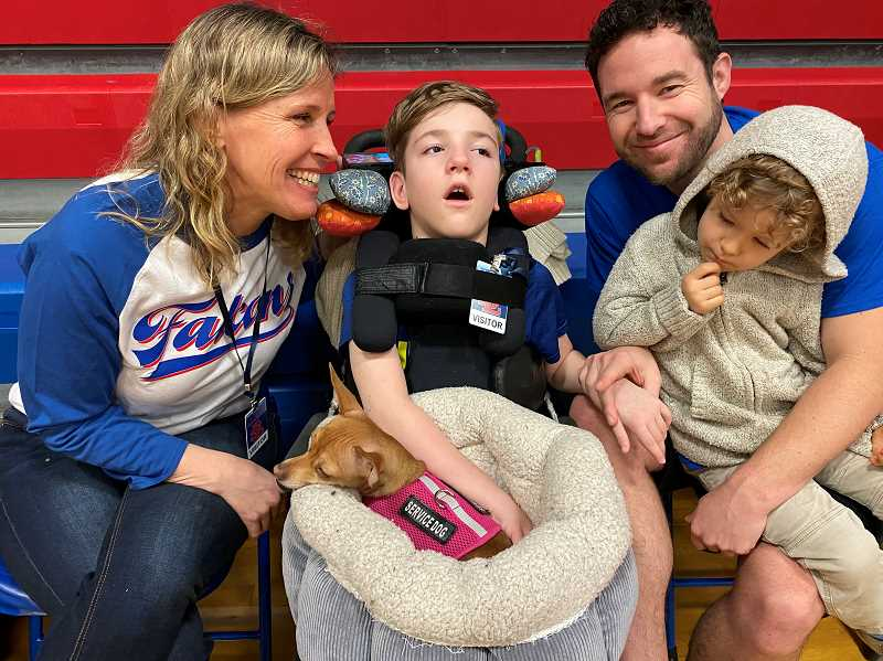 COURTESY PHOTO - La Salle Prep conducted a Jan. 24 adoption day for Taran Dodge, 8, who  was born with his intestines outside of his body.