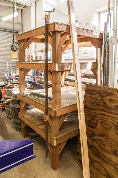 PMG PHOTO: JONATHAN HOUSE - Stacks of finished tables are ready to be shipped from Westview High to the Bonnie L. Hays Animal Shelter.