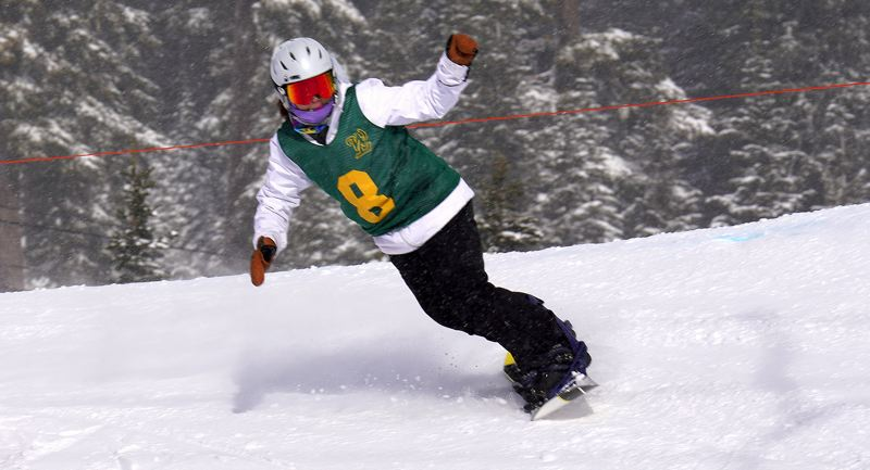 COURTESY PHOTO JIM GEDULDICK - West Linn's Ashley Chon turns a corner during her team's win in the banked slalom at Mt. Hood Meadows on Sunday, Feb. 2.