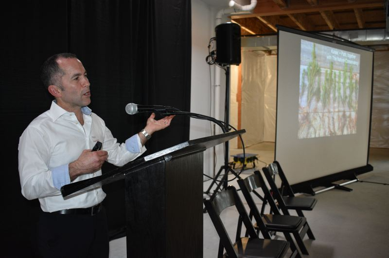 PMG PHOTO: SHANNON O. WELLS - Ben Kaiser of Kaiser Group & Path Architecture shares the techniques behind his pioneering mass-timber-based building projects in downtown Portland at the East Metro Economic Alliances FOCUS 2020 event on Friday, Jan. 31.