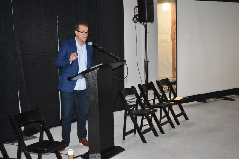 PMG PHOTO: SHANNON O. WELLS - Troutdale Mayor Casey Ryan welcomes FOCUS 2020 forum participants on Friday by talking up the citys assets including its proximity to the Columbia River Gorge, developable land and heavy-hitter businesses like Amazon and FedEx.