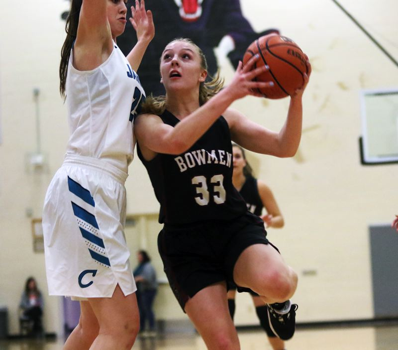 PMG PHOTO: DAN BROOD - Sherwood High School sophomore Klaira Ray (33) looks to go up to the basket against Century senior Amy Walkenhorst during Tuesday's Pacific Conference contest.