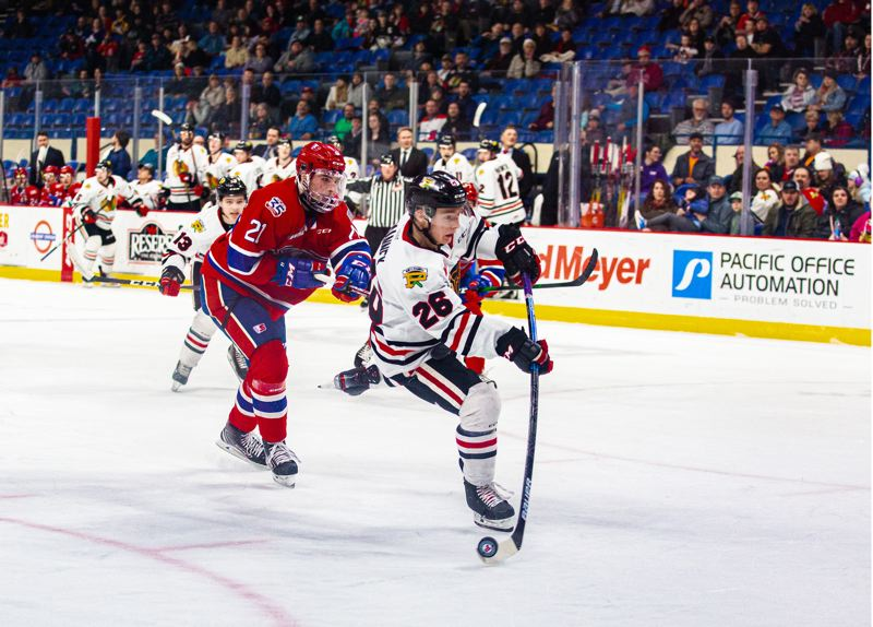 COURTESY PHOTO: PORTLAND WINTERHAWKS/MEGAN CONNELLY - Mason Mannek's breakaway goal started Portland's comeback against Spokane on Tuesday at Veterans Memorial Coliseum.