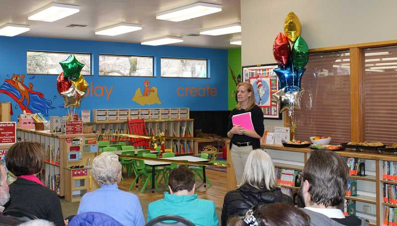 JENNIFFER GRANT/MADRAS PIONEER - Laura Jones, Jefferson County's children's librarian, introduced the newly remodeled section at a ribbon cutting ceremony Jan. 28.