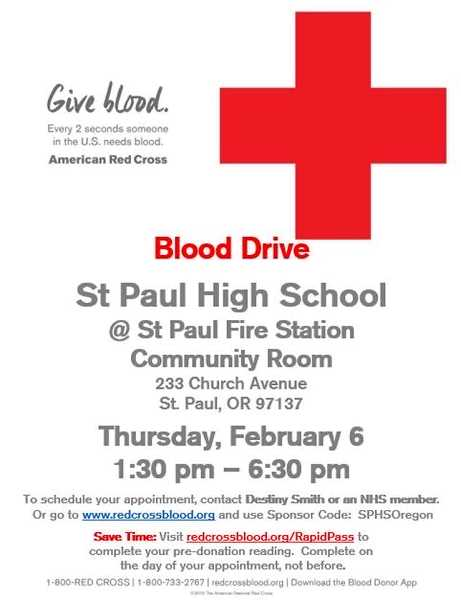 COURTESY PHOTO - The American Red Cross will be holding a blood drive on Thursday at the St. Paul Fire Station community room, located at 233 Church Ave.