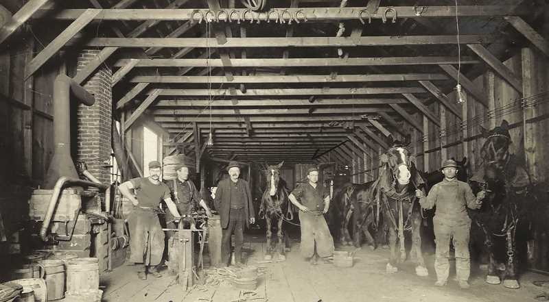 COURTESY PHOTO: PETERKIN FAMILY COLLECTION - J.D. Peterkin Co. engaged in blacksmithing, horseshoeing and metal repair. Four generations of the Peterkin family has operated the business since 1929.