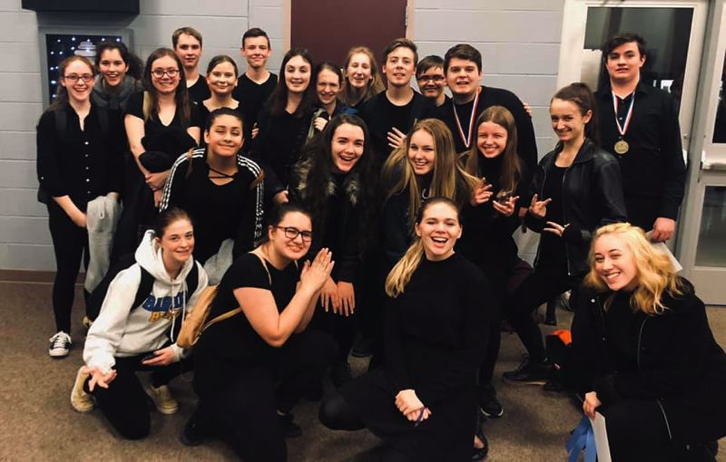 COURTESY PHOTO: SAM BARLOW HIGH SCHOOL - Sam Barlow High School Theatre Department studens are all smiles after the Mt. Hood Conference Acting Festival at Centennial High School. Some of them will perform in the Musical Comedy Murders of 1940 shows that start Thursday, Feb. 13.