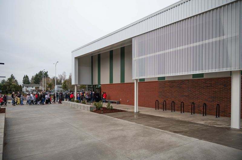 PMG PHOTO: CHRISTOPHER OERTELL - Students walk inside the new gym at Eastwood Elementary School in Hillsboro on Tuesday, Feb. 4.