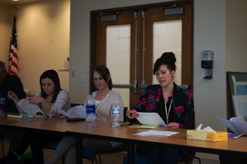 PMG PHOTO: ANNA DEL SAVIO - Julia Jackson, right, attends a mental health advisory committee meeting in April 2019. Jackson served as executive director of Columbia Community Mental Health from July 2018 to February 2020.