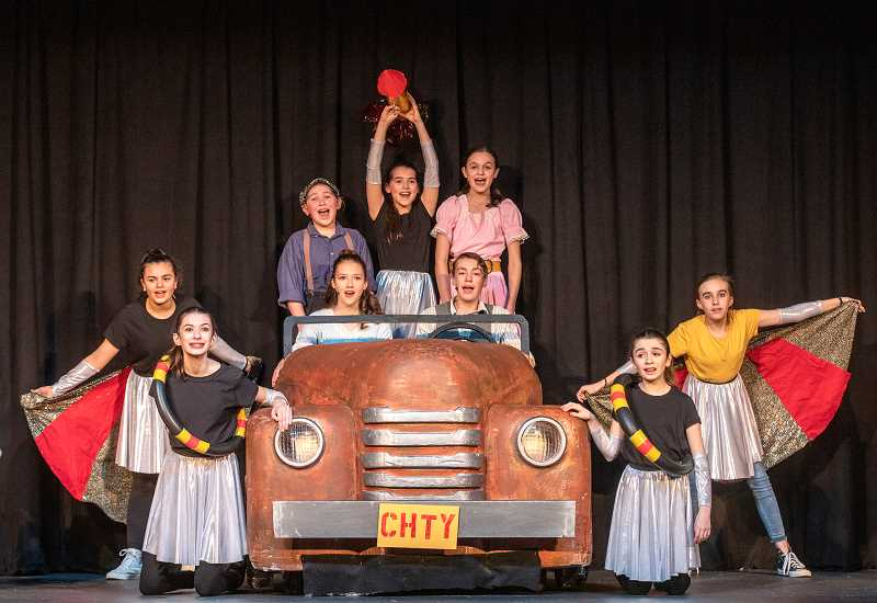 PMG PHOTO: JONATHAN HOUSE - The Lake Oswego Junior cast of Chitty Chitty Bang Bang, rehearses on Tuesday evening.