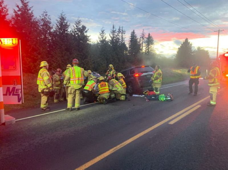 COURTESY PHOTO: WASHINGTON COUNTY SHERIFF'S OFFICE - First responders attend to a fatal crash on Southwest Scholls Ferry Road west of Beaverton on Wednesday, Feb. 5.