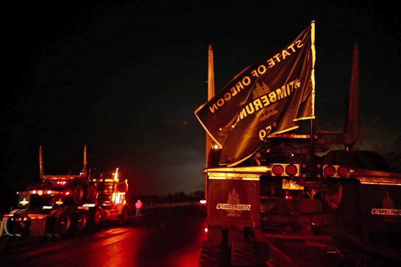 PMG PHOTO: JAIME VALDEZ - The convoy heads toward the state capital early Thursday morning to protest a bill designed to address carbon emissions in Oregon.