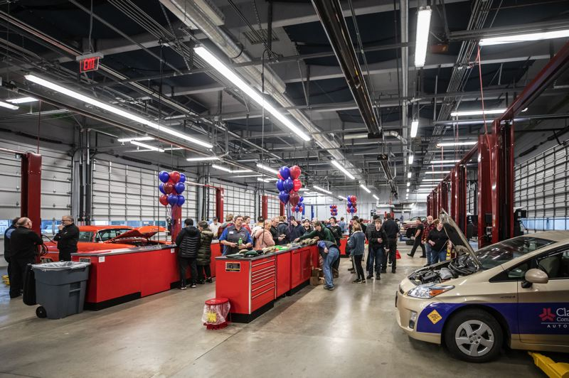 PMG PHOTO: JONATHAN HOUSE - The newly renovated automotive garage space on Clackamas Community College's Oregon City campus features 12 new, additional work stations for students in the automotive services technican degree program.
