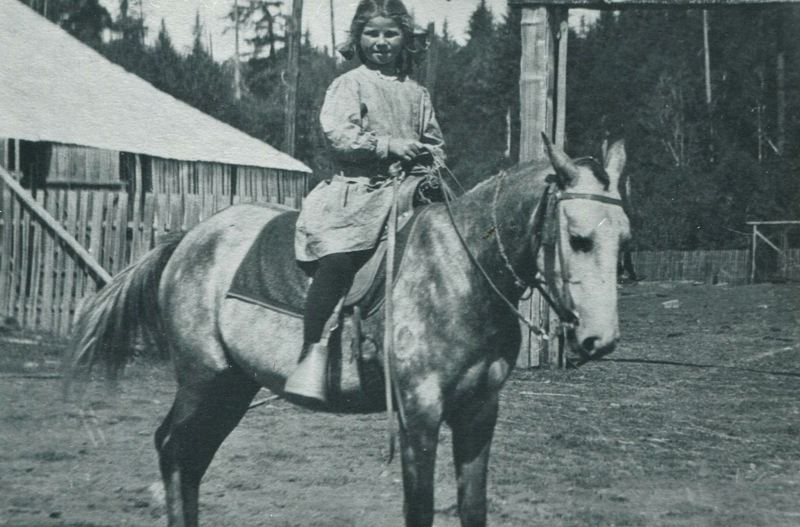 COURTESY PHOTO: BILL WHITE - Lutie on her horse Cream Puff when she was 8 in 1910.