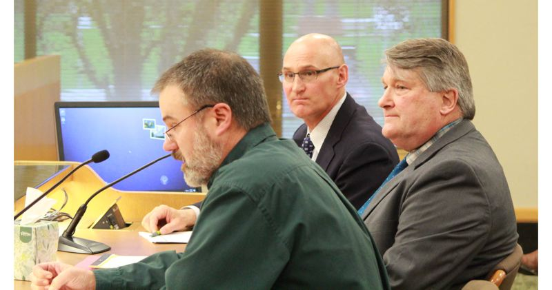 OREGON CAPITAL BUREAU: SAM STITES - The second is of Ed Keith (left), Deschutes County Forester; Phil Henderson, Deschutes County Commissioner; and Nick Lelack, Deschutes County Community Development Coordinator, who all came to testify in regard to concerns about the bill and its implementation.