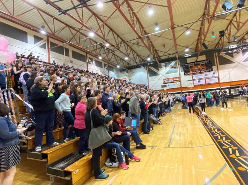 PMG PHOTO: KRISTEN WOHLERS - Students and community members packed the stands for the Share the Love kickoff on Friday, Jan. 31.