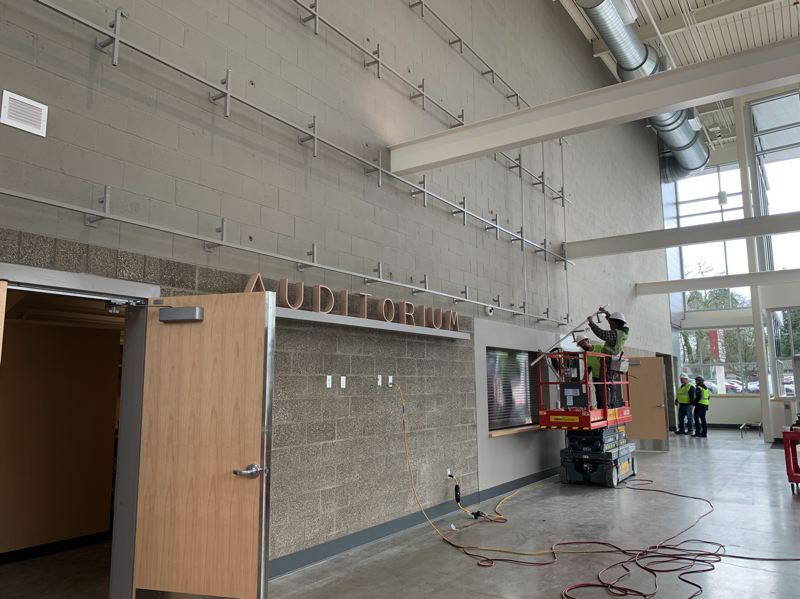 COURTESY PHOTO: GRESHAM-BARLOW SCHOOL DISTRICT - Workers are putting the finishing touches on Gresham High Schools new, 532-seat theater at the corner of Main Avenue and Division Street.