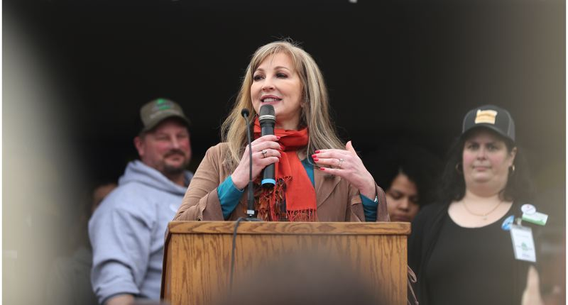 PMG PHOTO: JAIME VALDEZ - State Sen. Kim Thatcher told the Timber Unity rally Thursday, Feb. 6, that she plans to run for secretary of state.