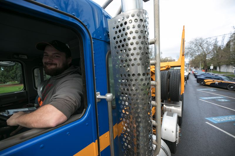 PMG PHOTO: JAIME VALDEZ - Drivers brought their big rigs to Salem to show support for rural Oregon's political views.