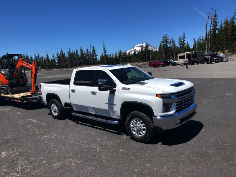 PMG PHOTO: JEFF ZURSCHMEIDE - The 2020 Chevy Silverado HD is built for towing. When equipped with the optional 6.6-liter turbodiesel V8, it can pull up to 35,500 pounds — which is twice the maximum you can tow with a normal Oregon's driver's license.
