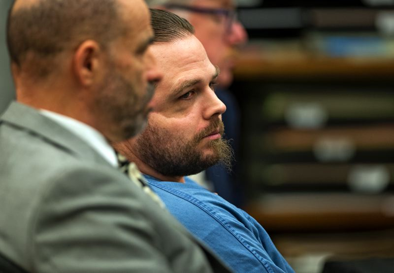 POOL PHOTO: DAVE KILLEN, THE OREGONIAN/OREGONLIVE - Defense attorney Dean Smith, foreground, with his client, Jeremy Christian.