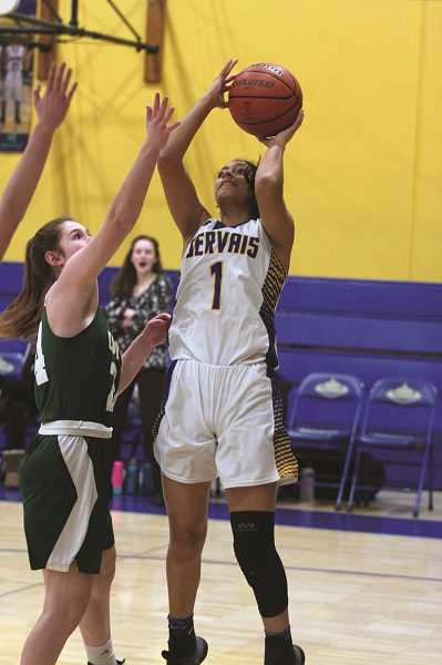 PMG PHOTO: PHIL HAWKINS - Gervais junior Araceli Vasquez was the lone player in double figures — 10 points — as the Cougars and Vikings each combined for their lowest scoring cumulative total of the season.