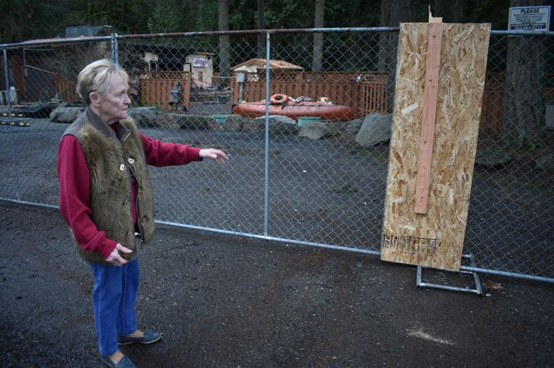 PMG PHOTO: SHANNON O. WELLS - On Friday afternoon, Feb. 7, Shirley Welton shows where someone recently broke through the safety fence surrounding the rubble of the Tippy Canoe restaurant and stole a keg of beer and a bin full of discarded meat.