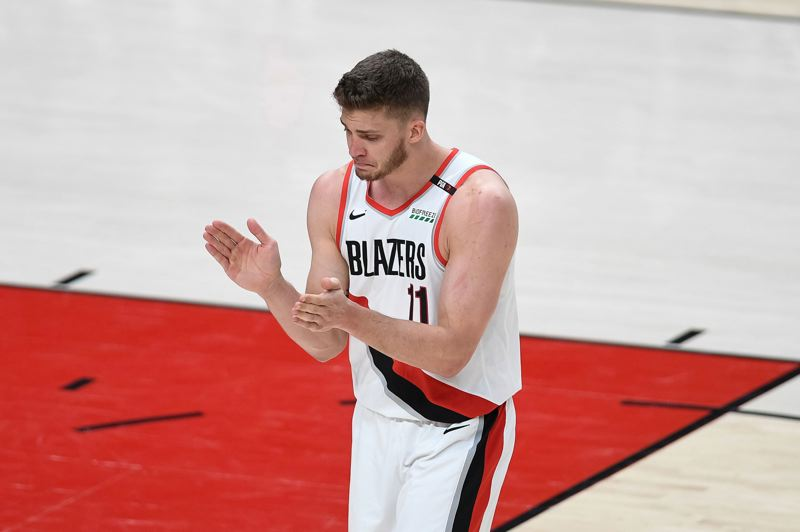 PMG FILE PHOTO: CHRISTOPHER OERTELL - Then Potland big man Meyers Leonard gets pumped during his big outing in Game 4 of the 2019 Trail Blazers playoff series with Golden State.