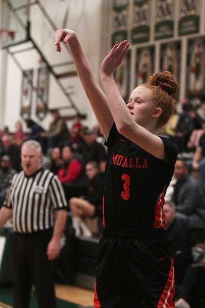 PMG PHOTO: PHIL HAWKINS - Molalla junior Hannah Nelzen hit a pair of 3-pointers in the third quarter and led the Indians with eight points.
