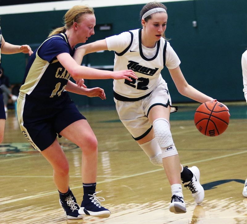 PMG PHOTO: DAN BROOD - Tigard High School senior Delaney Leavitt (right) looks to drive past Canby junior Zoe Thompson during Friday's Three Rivers League game.
