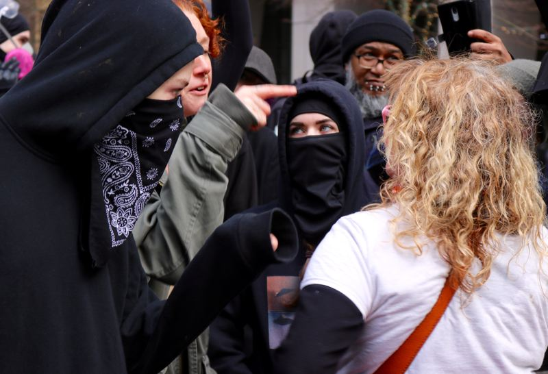 PMG PHOTO: ZANE SPARLING - Mary Jean Dowell said she was there to suppor the anti-KKK protesters, but said her efforts to calm things down were misinterpreted as opposition.