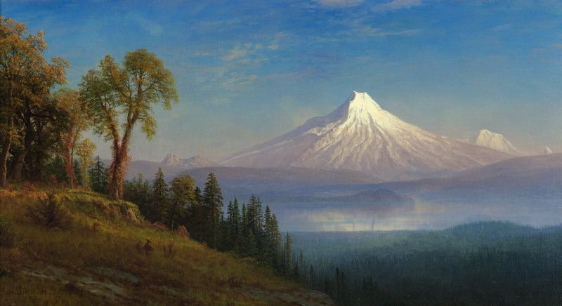COURTESY PHOTO: PORTLAND ART MUSEUM - Renowned German artist Albert Bierstadt painted Mount St. Helens late in the 19th century — a long time before the 1980 eruption took its peak. Bierstadt's painting and more are on display as part of a Mount St. Helens exhibit at Portland Art Museum