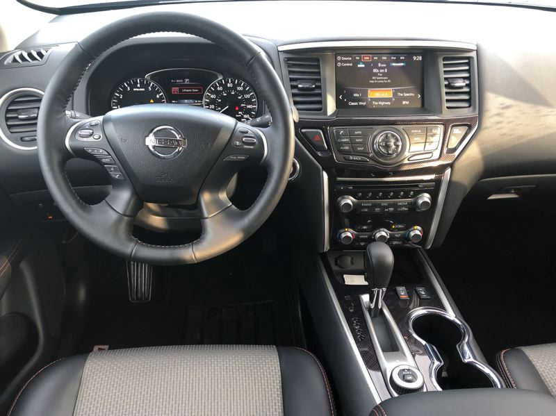 PMG PHOTO: JEFF ZURSCHMEIDE - The controls for the 2020 Nissan Pathfinder are well laid out and easy to use. It comes with a lot of standard equippment, but can also be ordered with all the bells and whistles.