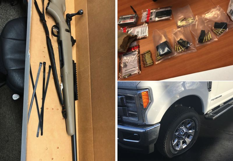 VIA WCSO - A bolt-action rifle, ammunition and a truck with a flat tire are shown here in photos released by Washington County Sheriff's Office.