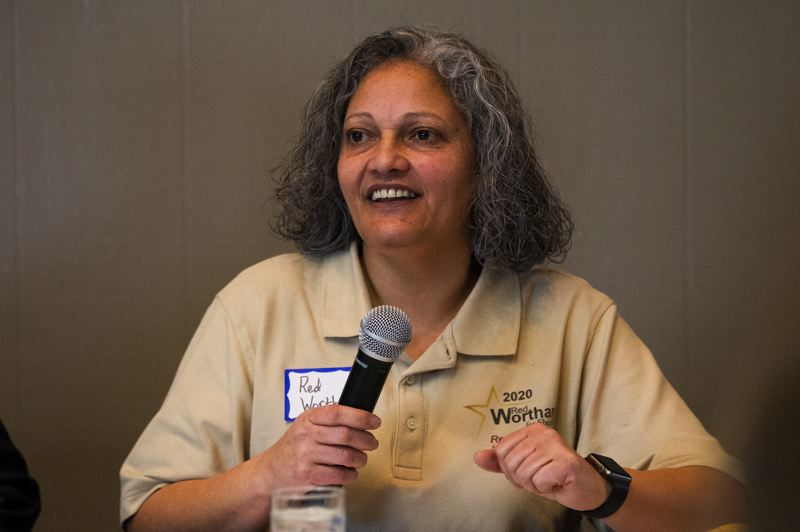 PMG PHOTO: JAIME VALDEZ - Sgt. Red Wortham, a candidate for Washington County sheriff, speaks Jan. 29 at a Beaverton Area Chamber of Commerce candidate forum at the Stockpot Broiler. She is challenging incumbent Pat Garrett in the May 19 primary.