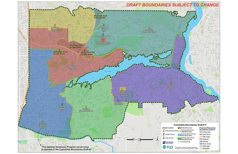 COURTESY PHOTO - Draft three of the elementary boundary was presented at the opne house. It is not an official map and is subject to change.